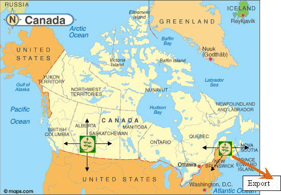 Map Of Canada East And West.Technico Technologies Inc Canada